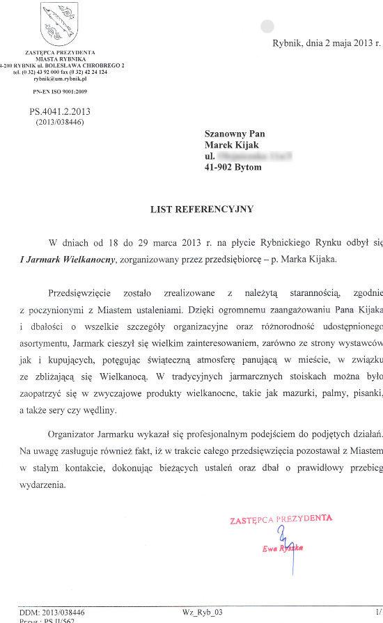 List Referencyjny od Zastępcy Prezydenta miasta Rybnik